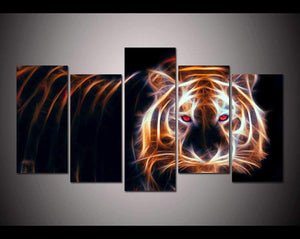 Herogameszone Glowing Tiger Canvas Printed Wall Art Medium / No Frame Canvas Printed Wall Art