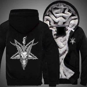 Herogameszone Goat Skull Head Zip Hoodie Warm Fleece Zip Hoodie Warm Fleece