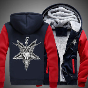 Herogameszone Goat Skull Head Zip Hoodie Warm Fleece S / Red Zip Hoodie Warm Fleece