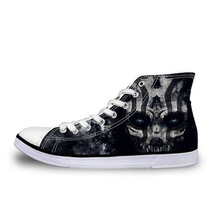 Herogameszone Gothic Skull Canvas Shoes For Unisex High-Top Printed Casual US 5 Canvas Shoes For Unisex High-Top Printed Casual