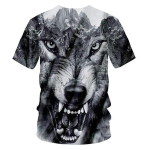 Herogameszone Gray Wolf 3D T-Shirt Short Sleeve 3D T-Shirt Short Sleeve