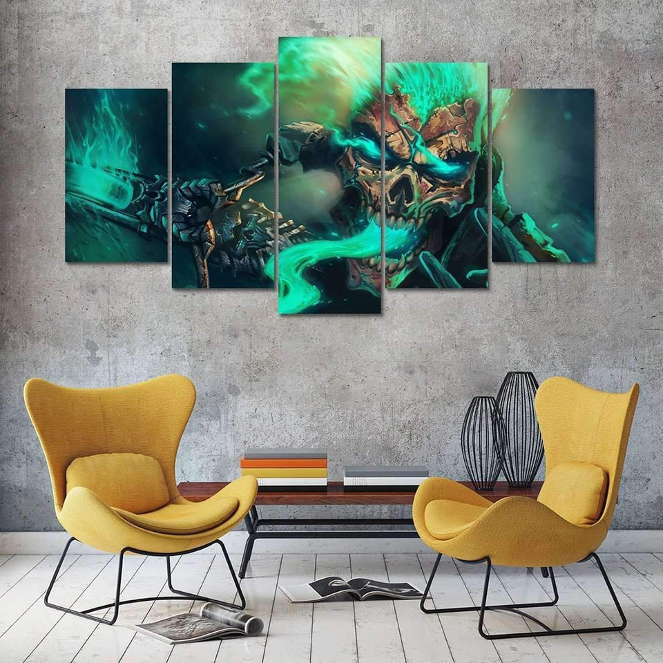 Herogameszone Green Skull Canvas Printed Wall Art Canvas Printed Wall Art