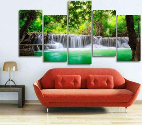 Herogameszone Green Tropical Waterfall Canvas Printed Wall Art Canvas Printed Wall Art
