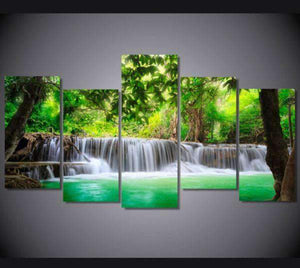 Herogameszone Green Tropical Waterfall Canvas Printed Wall Art Medium / No Frame Canvas Printed Wall Art