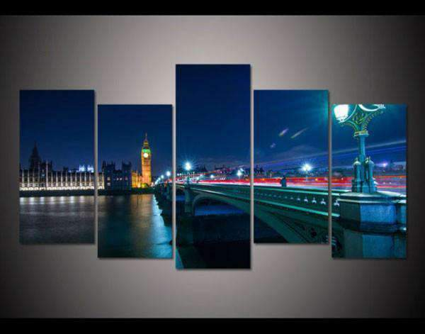 Herogameszone London Night Cityscape Canvas Printed Wall Art Medium / No Frame Canvas Printed Wall Art