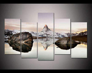 Herogameszone Matterhorn in Alps Canvas Printed Wall Art Medium / No Frame Canvas Printed Wall Art
