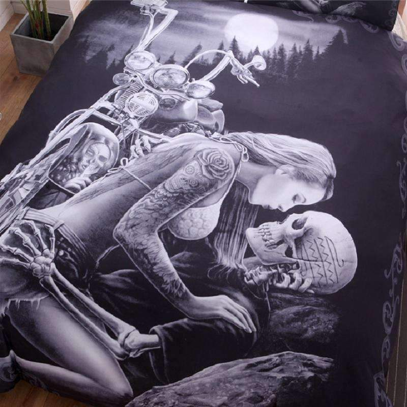 Motorcycle Skull Bedding Set