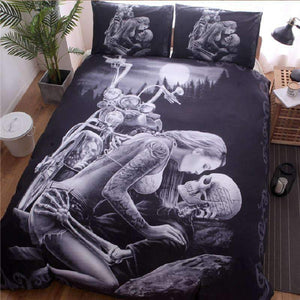 Herogameszone Motorcycle Skull Duvet Cover Bedding Set Bedding Set