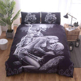 Herogameszone Motorcycle Skull Duvet Cover Bedding Set US Queen Bedding Set
