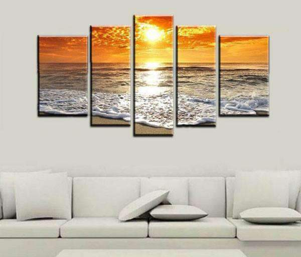 Herogameszone Orange Sunset Wave Seascape Canvas Printed Wall Art Medium / No Frame Canvas Printed Wall Art