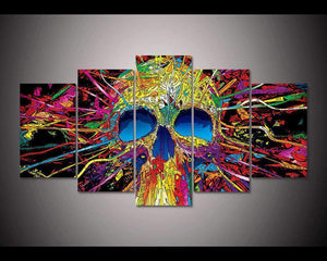 Herogameszone Psychedelic Skull Canvas Printed Wall Art Medium / No Frame Canvas Printed Wall Art
