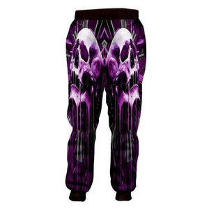 Herogameszone Purple Skull 3D Casual Pants Long Sleeve 3D Casual Pants Long Sleeve