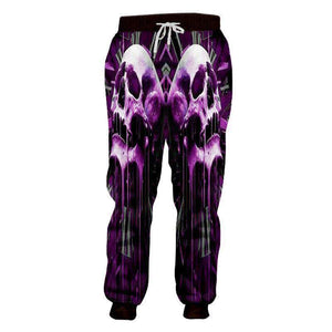 Purple Skull 3D Casual Pants Long Sleeve