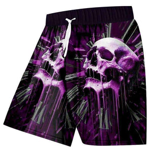 3D Shorts Purple Skull