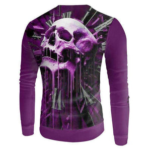 Herogameszone Purple Skull 3D Sweatshirt Long Sleeve 3D Sweatshirt Long Sleeve
