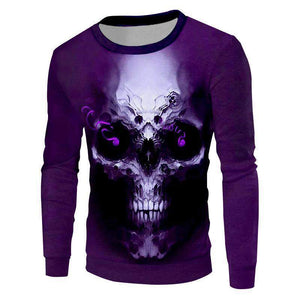 Herogameszone Purple Skull 3D Sweatshirt Long Sleeve S 3D Sweatshirt Long Sleeve