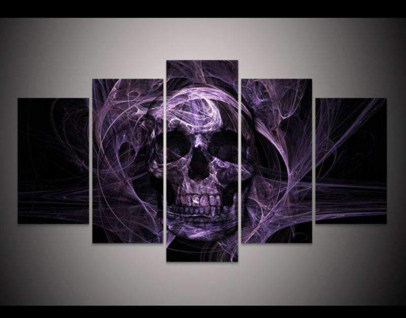 Herogameszone Purple Skull Canvas Printed Wall Art Medium / No Frame Canvas Printed Wall Art
