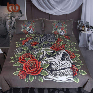 Herogameszone Roses Skull Duvet Cover Bedding Set US Full Bedding Set