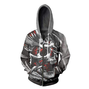 Herogameszone Skull 3D Hoodie with Zipper Long Sleeve S 3D Hoodie with Zipper Long Sleeve