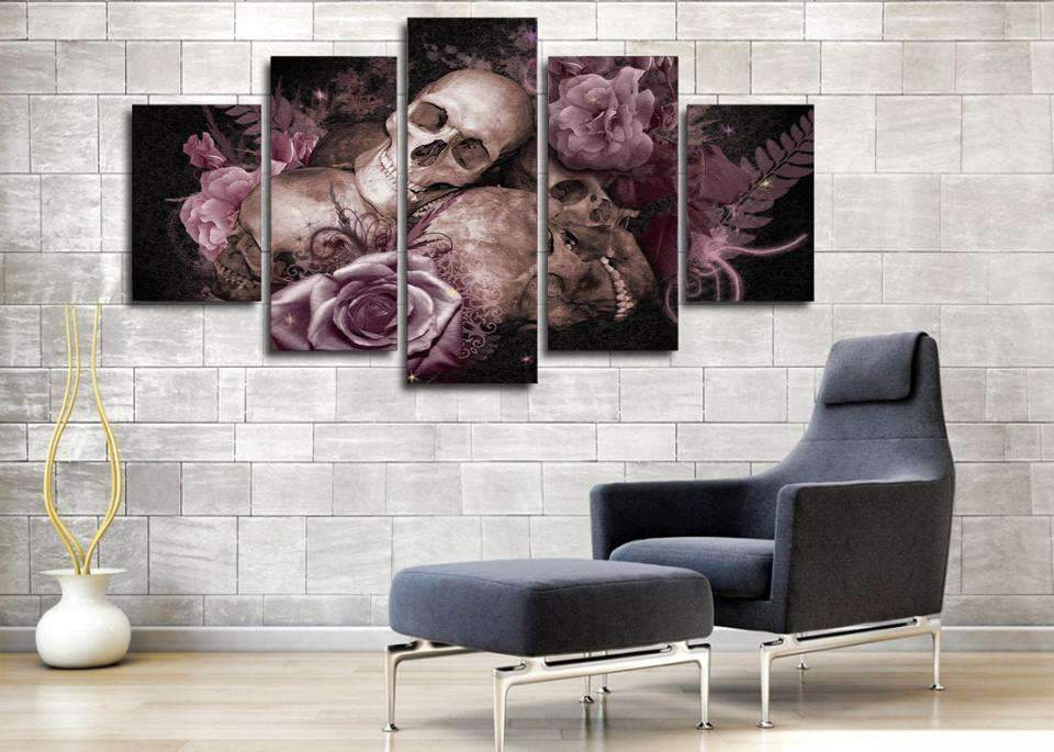 Herogameszone Skull and Roses Canvas Printed Wall Art Canvas Printed Wall Art