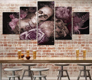 Herogameszone Skull and Roses Canvas Printed Wall Art Medium / No Frame Canvas Printed Wall Art