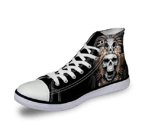 Herogameszone Skull Canvas Shoes For Men's High-Top Printed Casual - 10 Styles 5 / US 5 Canvas Shoes For Men's High-Top Printed Casual - 10 Styles
