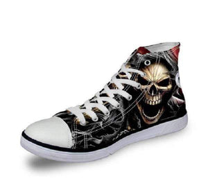 Herogameszone Skull Canvas Shoes For Men's High-Top Printed Casual - 11 Styles 10 / US 5 Canvas Shoes For Men's High-Top Printed Casual - 11 Styles