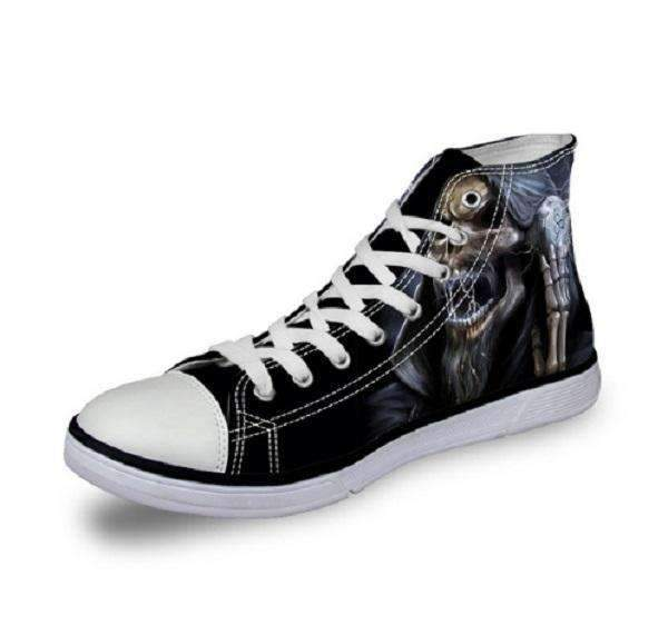Herogameszone Skull Canvas Shoes For Men's High-Top Printed Casual - 11 Styles 2 / US 5 Canvas Shoes For Men's High-Top Printed Casual - 11 Styles