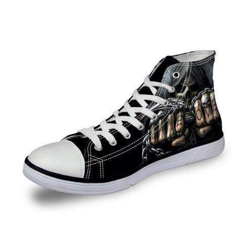 Skull Canvas Shoes For Men's High-Top Printed Casual - 11 Styles