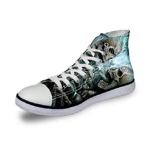 Herogameszone Skull Canvas Shoes For Men's High-Top Printed Casual - 11 Styles 5 / US 5 Canvas Shoes For Men's High-Top Printed Casual - 11 Styles