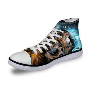 Herogameszone Skull Canvas Shoes For Men's High-Top Printed Casual - 11 Styles 6 / US 5 Canvas Shoes For Men's High-Top Printed Casual - 11 Styles