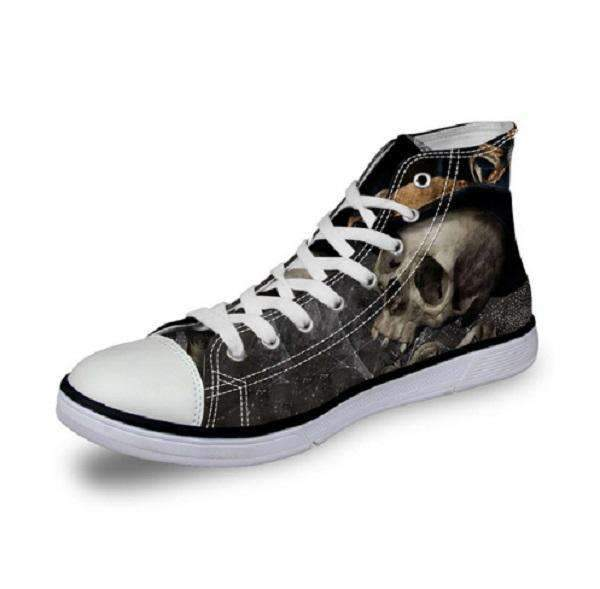 Herogameszone Skull Canvas Shoes For Men's High-Top Printed Casual - 11 Styles 7 / US 5 Canvas Shoes For Men's High-Top Printed Casual - 11 Styles