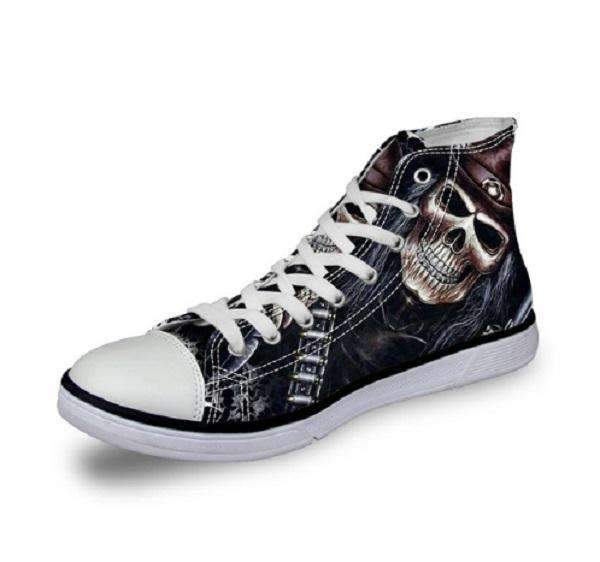 Herogameszone Skull Canvas Shoes For Men's High-Top Printed Casual - 11 Styles 9 / US 5 Canvas Shoes For Men's High-Top Printed Casual - 11 Styles