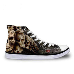 Herogameszone Skull Canvas Shoes For Men's High-Top Printed Casual - 9 Styles 5 / # 9 Canvas Shoes For Men's High-Top Printed Casual - 9 Styles