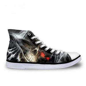 Herogameszone Skull Canvas Shoes For Men's High-Top Printed Casual - 9 Styles 5 / # 8 Canvas Shoes For Men's High-Top Printed Casual - 9 Styles