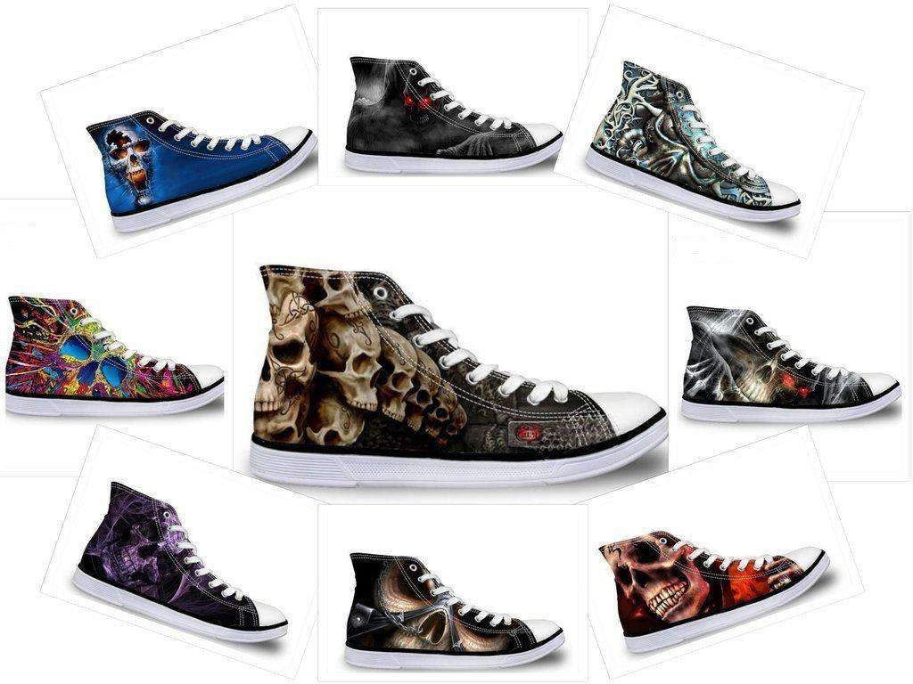 Herogameszone Skull Canvas Shoes For Men's High-Top Printed Casual - 9 Styles Canvas Shoes For Men's High-Top Printed Casual - 9 Styles