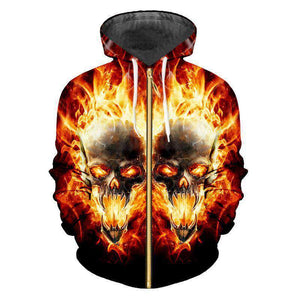 Herogameszone Skull Fire 3D Hoodie with Zipper Long Sleeve # 1 / S 3D Hoodie with Zipper Long Sleeve