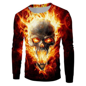 Herogameszone Skull Fire 3D Sweatshirt Long Sleeve # 1 / S 3D Sweatshirt Long Sleeve