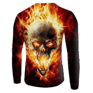 Herogameszone Skull Fire 3D Sweatshirt Long Sleeve 3D Sweatshirt Long Sleeve