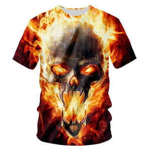 Herogameszone Skull Fire 3D T-Shirt Short Sleeve # 1 / S 3D T-Shirt Short Sleeve