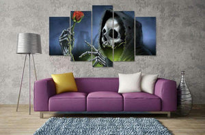 Herogameszone Skull Rose Flower Canvas Printed Wall Art Canvas Printed Wall Art