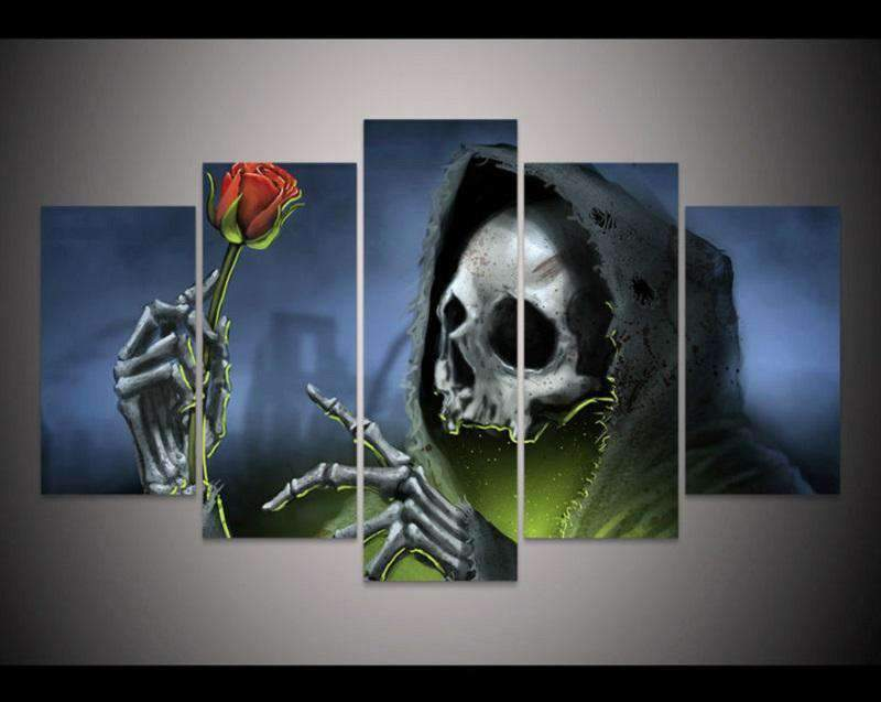 Herogameszone Skull Rose Flower Canvas Printed Wall Art Medium / No Frame Canvas Printed Wall Art