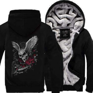 Herogameszone Skull & Rose Zip Hoodie Warm Fleece S / Dark Blue Zip Hoodie Warm Fleece
