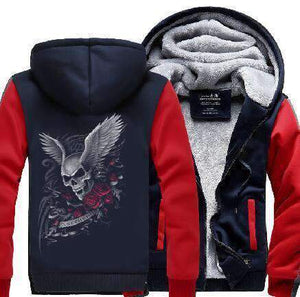 Herogameszone Skull & Rose Zip Hoodie Warm Fleece S / Red Zip Hoodie Warm Fleece