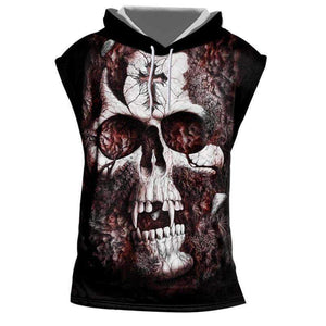 8336aee43f9f Herogameszone Skull Tank Top Sleeveless With Hooded S Tank Top Sleeveless  With Hooded ...