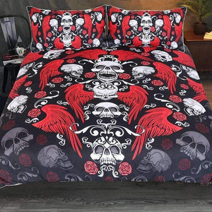 Herogameszone Skull With Rose and Wings Duvet Cover Bedding Set US Full Bedding Set