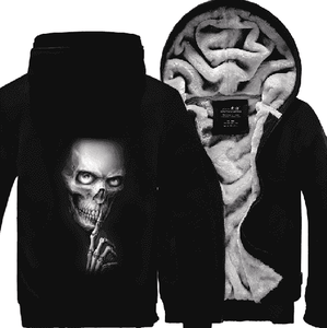 Herogameszone Skull Zip Hoodie Warm Fleece S / Dark Blue Zip Hoodie Warm Fleece