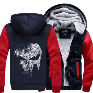 Herogameszone Skull Zip Hoodie Warm Fleece S / Red Zip Hoodie Warm Fleece