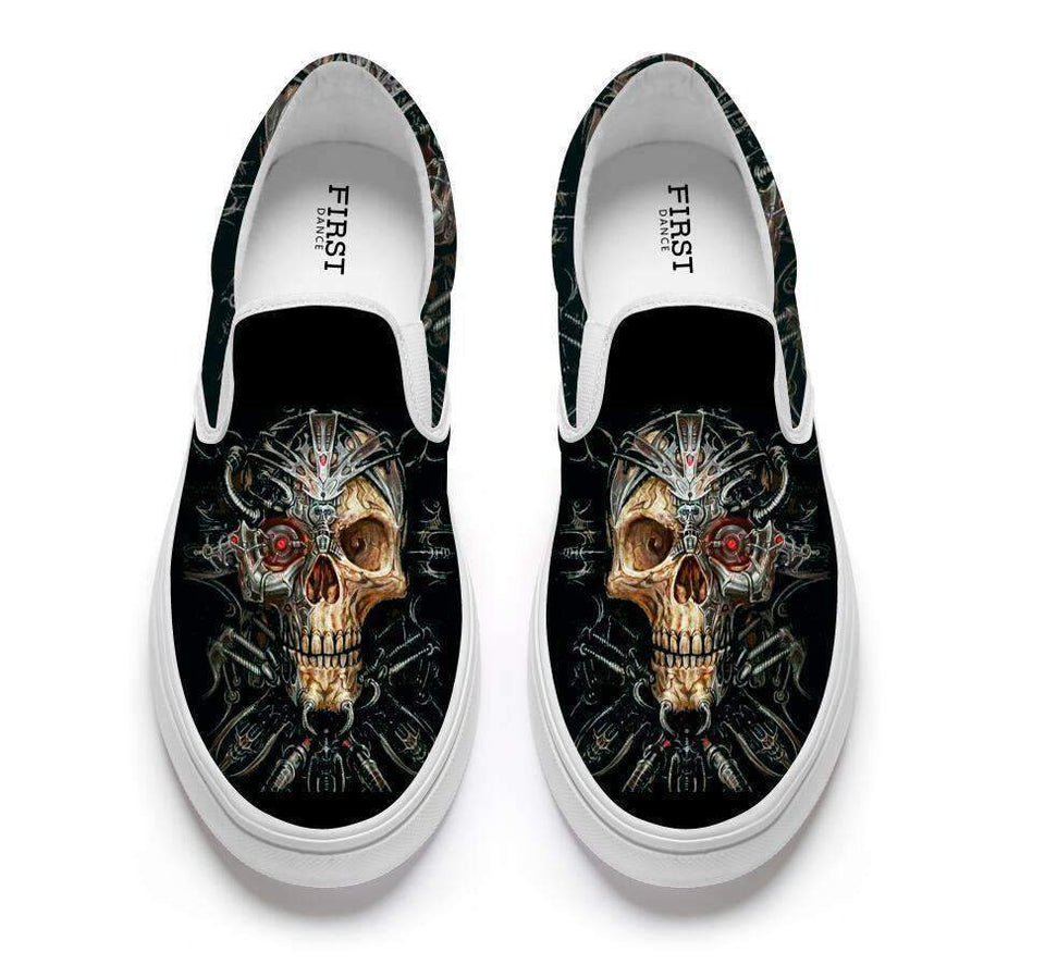 Herogameszone Skulls Casual Slip On Shoes Flat-Bottomed For Men # 3 / 5 Casual Slip On Shoes Flat-Bottomed For Men - 4 Styles