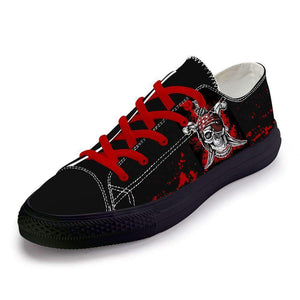 Herogameszone Skulls Classic Casual Hip Hop Canvas Shoes Flats For Men # 1 / 5 Classic Casual Hip Hop Canvas Shoes Flats For Men - 7 Styles